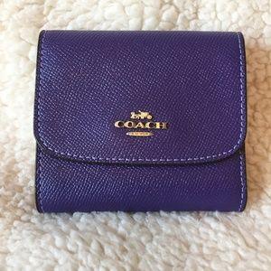 Coach - Crossgrain Leather Small Wallet in Purple